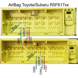EU0035 Toyota/Lexus Airbag Modules on R5F617xx Read Flash by CAN (module conector)